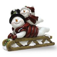 A Cheerful Giver Willie the Sledding Snowman Resin Figurine