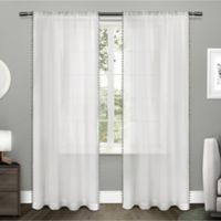 Pom Pom 96-Inch Rod Pocket Window Curtain Panel Pair in Black Pearl