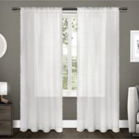 Pom Pom 108-Inch Rod Pocket Window Curtain Panel Pair in Winter White