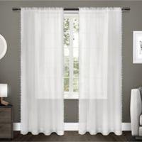 Pom Pom 96-Inch Rod Pocket Window Curtain Panel Pair in Winter White