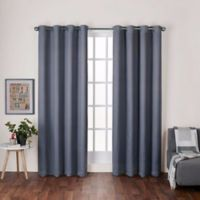 Heath 108-Inch Grommet Top Room Darkening Window Curtain Panel Pair in Black Pearl