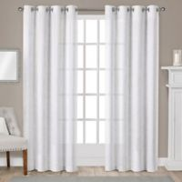 Sparkles 108-Inch Grommet Top Window Curtain Panel Pair in Winter White