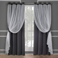 Catarina 108-Inch Grommet Room Darkening Window Curtain Panel Pair in Black Pearl