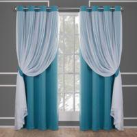 Catarina 63-Inch Grommet Room Darkening Window Curtain Panel Pair in Turquoise
