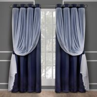 Catarina 63-Inch Grommet Room Darkening Window Curtain Panel Pair in Navy