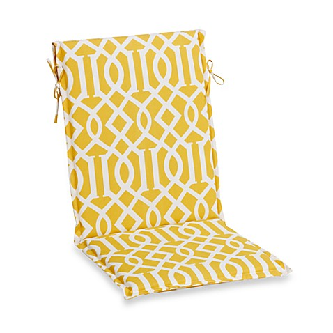 Sling Cushion With Ties In Yellow Trellis Bed Bath Beyond