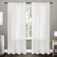 Tassels 96-Inch Rod Pocket Window Curtain Panel Pair in Winter White