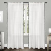 Tassels 84-Inch Rod Pocket Window Curtain Panel Pair in Black Pearl