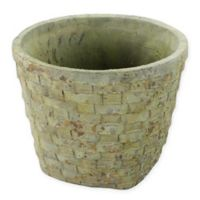 AREOHome Large Checker Weave Cement Basket Planter in Grey/Beige