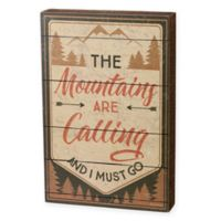 Mountains Calling 12-Inch x 8-Inch Box Wall Art in Natural