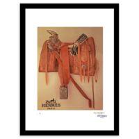 Fairchild Paris Southwestern Saddle Vintage Hermes Ad 12-Inch x 16-Inch Wall Art in Orange