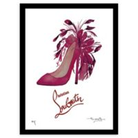 Fairchild Paris Feathers Louboutin Framed Wall Art in Black/Pink