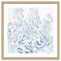 PTM Images Zoomed In Blue Floral 23.5-Inch Framed Wall Art