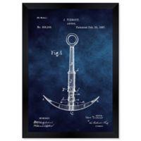 Oliver Gal™ Anchor 1887- Blue Blueprint Paper Framed Print in Blue