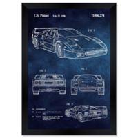 Oliver Gal™ Ferrari F40 1990 Chalkboard Paper Framed Print in Blue
