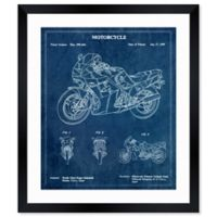 Oliver Gal™ Motorcycle 1989 Blueprint Paper Framed Print in Teal