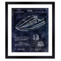 Oliver Gal™ Jet Ski 1990 Blueprint 12-Inch x 14-Inch Framed Print Wall Art in Blue