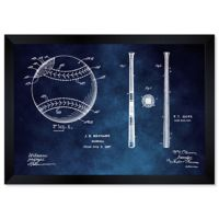 Oliver Gal™ 10-Inch x 12-Inch Baseball and Bat 1927 Blueprint Framed Wall Art in Blue