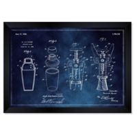 Oliver Gal™ 10-Inch x 12-Inch Cocktail Mixer Cork Extractor Framed Patent Print in Blue