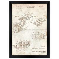 Oliver Gal™ Lego Toy Building Brick 1961 Paper Framed Print in Tan