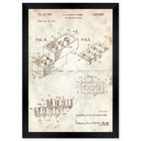 Oliver Gal™ Lego Toy Building Brick 1961 Paper Framed Print in Tan