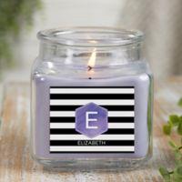 Modern Stripe Personalized Lilac Minuet Candle Jar- Small