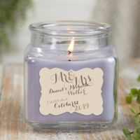 Mr. & Mrs. Personalized Lilac Minuet Scented Glass Candle Jar- Small