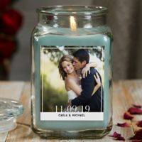 Our Wedding Photo Personalized Eucalyptus Spa Glass Candle Jar- Large