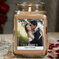 Our Wedding Photo Personalized Walnut Coffee Cake Glass Candle Jar- Large