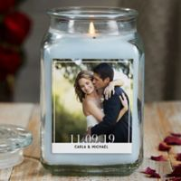 Our Wedding Photo Personalized Crystal Waters Glass Candle Jar- Large