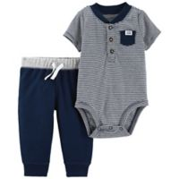 carter's® Size 6M 2-Piece Henley Stripe Bodysuit and Pant Set in Navy/Pink