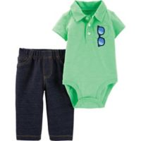 carter's® Size 6M 2-Piece Polo Bodysuit and Pant Set in Neon Mint