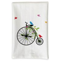 Love You a Latte Shop Birds on Tricycle Handmade Kitchen Towel in White