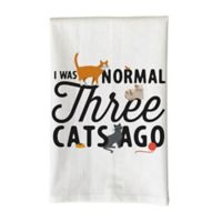 "Love You a Latte Shop ""I Was Normal Three Cats Ago"" Kitchen Towel in White"