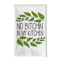 "Love You a Latte Shop ""No B*tchin' in my Kitchen"" Kitchen Towel in White"