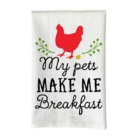 "Love You a Latte Shop ""My Pets Make Me Breakfast"" Kitchen Towel in White"