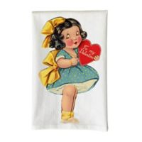 Love You a Latte Shop Vintage Girl Holding Heart Kitchen Towel in White