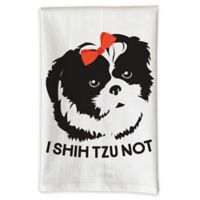 "Love You a Latte Shop "" I Shih Tzu Not"" Kitchen Towel in White"