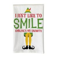 """Love You a Latte Shop """"I Just Like to Smile"""" Kitchen Towel in White"""