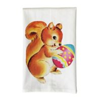 Love You a Latte Shop Vintage Squirrel Holding Egg Kitchen Towel in White