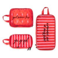 Miamica® 3-Piece Girl Power Packing Cubes in Red/White