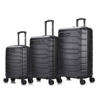 InUSA Trend II 3-Piece Hardside Spinner Luggage Set in Black