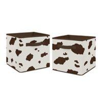 Sweet Jojo Designs Wild West Cow Print Storage Bins in Brown/Cream (Set of 2)