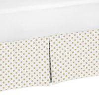 Sweet Jojo Designs Mini Dot Toddler Bed Skirt in Gold/White