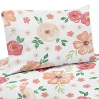 Sweet Jojo Designs Watercolor Floral Twin Sheet Set in Coral/White