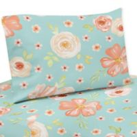 Sweet Jojo Designs® Watercolor Floral Twin Sheet Set in Peach/Turquoise