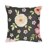 Sweet Jojo Designs Watercolor Floral 18-Inch Square Throw Pillow