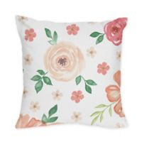 Sweet Jojo Designs Watercolor Floral Square Throw Pillows (Set of 2)