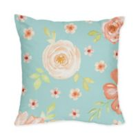 Sweet Jojo Designs® Watercolor Floral Turquoise & Peach Collection Throw Pillow