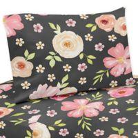 Sweet Jojo Designs Watercolor Floral 4-Piece Queen Sheet Set